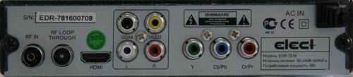Elect EDR-7816 разъёмы