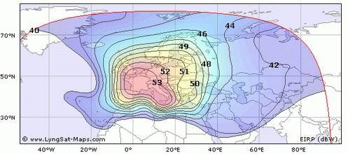 Карта покрытия спутника Hot Bird 6
