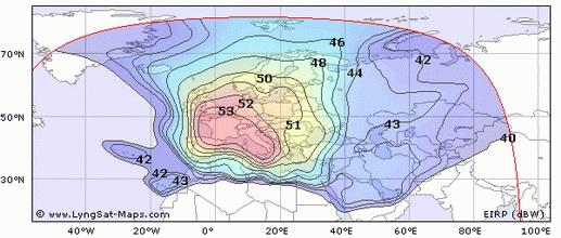 Карта покрытия спутника Hot Bird 8