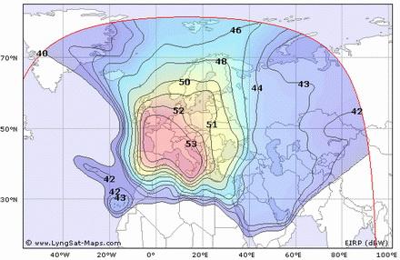 Карта покрытия спутника Hot Bird 9