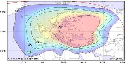 Зона покрытия спутника Sirius-4 Европа