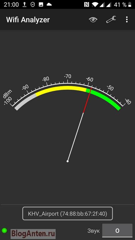 Качество сигнала в  Wi-Fi Analyzer