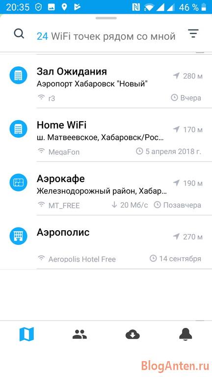 Описание доступных точек Wi-Fi