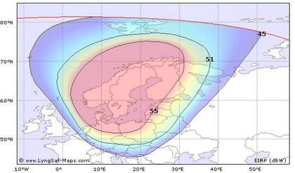 Зона покрытия спутника Sirius-4 Скандинавия.